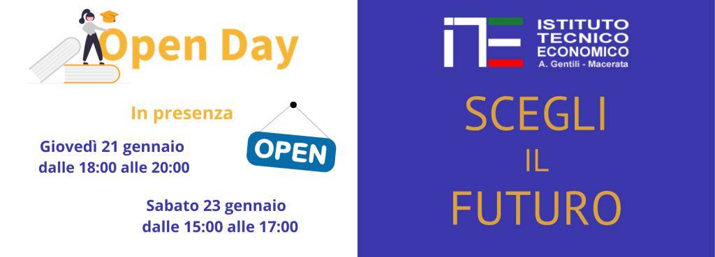 Open day giovedì 21 dalle 18 alle 20 e sabato 23 dalle 15 alle 17